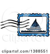 Clipart Of A Sketched Sailboat Postmark Royalty Free Vector Illustration by Vector Tradition SM