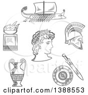 Clipart Of A Black And White Sketched Greek Emperor Amphora Soldier Helmet Shield Sword Fire Bowl And Warship Galley Royalty Free Vector Illustration