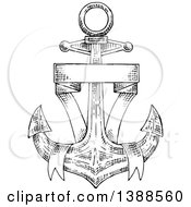 Black And White Sketched Anchor And Blank Banner