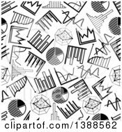 Seamless Background Pattern Of Black And White Charts And Graphs