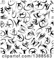 Clipart Of A Seamless Background Pattern Of Black Athletes Royalty Free Vector Illustration by Vector Tradition SM