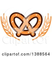Clipart Of A Bakery Design With Wheat And A Soft Pretzel Royalty Free Vector Illustration