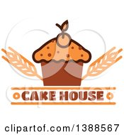 Clipart Of A Bakery Design With Text Wheat And A Cupcake Royalty Free Vector Illustration