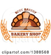 Clipart Of A Bakery Design With Text Wheat And Bread In A Brick Oven Royalty Free Vector Illustration