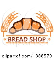 Clipart Of A Bakery Design With Text Wheat And A Croissant Royalty Free Vector Illustration