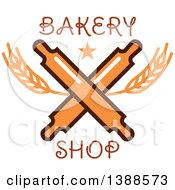 Clipart Of A Bakery Design With Text Wheat And Crossed Rolling Pins Royalty Free Vector Illustration