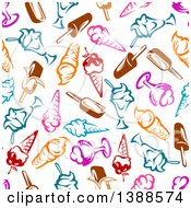 Clipart Of A Seamless Background Pattern Of Frozen Treats Royalty Free Vector Illustration by Vector Tradition SM
