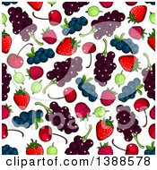 Clipart Of A Seamless Background Pattern Of Berries Royalty Free Vector Illustration
