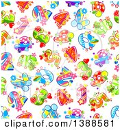 Clipart Of A Seamless Background Pattern Of Fruity Numbers Royalty Free Vector Illustration by Vector Tradition SM