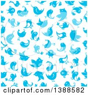 Clipart Of A Seamless Background Pattern Of Bluebirds Royalty Free Vector Illustration