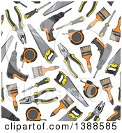 Clipart Of A Seamless Background Pattern Of Tools Royalty Free Vector Illustration