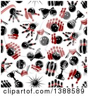 Poster, Art Print Of Seamless Background Pattern Of Bowling Balls And Pins