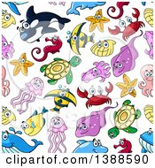 Seamless Background Pattern Of Sea Creatures