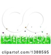Clipart Of A Background Of Spring Flowers Grass And Butterflies Under Text Space Royalty Free Vector Illustration