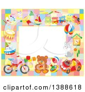 Horizontal Border Frame Of Toys