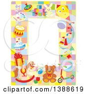 Clipart Of A Vertical Border Frame Of Toys Royalty Free Vector Illustration by Alex Bannykh