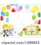 Poster, Art Print Of Horizontal Border Frame Of School Children