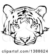 Clipart Of A Black And White Tattoo Styled Tiger Royalty Free Vector Illustration by dero
