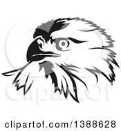 Clipart Of A Black And White Tattoo Styled Eagle Royalty Free Vector Illustration