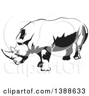 Clipart Of A Black And White Tattoo Styled Rhino Royalty Free Vector Illustration by dero