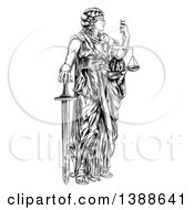 Clipart Of A Black And White Engraved Or Woodcut Blindfolded Lady Justice Holding Scales And A Sword Royalty Free Vector Illustration