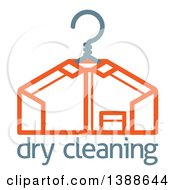 Clipart Of A Freshly Laundered Shirt On A Hanger Over Dry Cleaning Text Royalty Free Vector Illustration