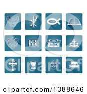 Clipart Of White Christian Icons On Blue Tiles Royalty Free Vector Illustration by AtStockIllustration