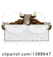 Clipart Of A Vicious Mad Brown Bull Mascot With Claws Holding A Blank Sign Royalty Free Vector Illustration