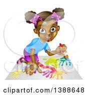 Poster, Art Print Of Cartoon Happy Black Girl Kneeling And Painting Artwork