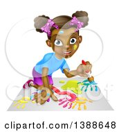Clipart Of A Cartoon Happy Black Girl Kneeling And Painting Artwork Royalty Free Vector Illustration by AtStockIllustration