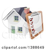Clipart Of A Survey Or Check List On A Clip Board Against A 3d White Home Royalty Free Vector Illustration
