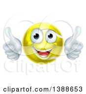 Clipart Of A Cartoon Happy Tennis Ball Character Giving Two Thumbs Up Royalty Free Vector Illustration by AtStockIllustration