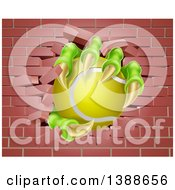 Clipart Of Monster Claws Holding A Tennis Ball And Breaking Through A Brick Wall Royalty Free Vector Illustration