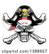 Pirate Skull And Crossbones Wearing A Patch And Captain Hat