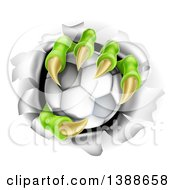Clipart Of Monster Claws Holding A Soccer Ball And Ripping Through A Wall Royalty Free Vector Illustration by AtStockIllustration