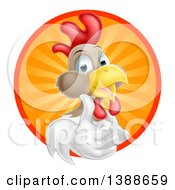 Clipart Of A Happy White And Brown Chicken Or Rooster Giving A Thumb Up And Emerging From A Circle Of Sun Rays Royalty Free Vector Illustration by AtStockIllustration