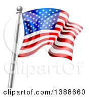 Clipart Of A 3d Rippling American Flag On A Silver Pole Royalty Free Vector Illustration