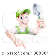 Clipart Of A Happy Middle Aged Brunette White Male Gardener In Green Pointing Down Over A Sign And Holding A Shovel Royalty Free Vector Illustration by AtStockIllustration
