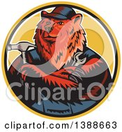 Poster, Art Print Of Retro Woodcut Eurasian Brown Bear Handman Holding Tools With Folded Arms In A Circle