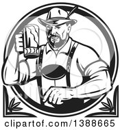 Clipart Of A Retro Black And White German Man Wearing Lederhosen And Raising A Beer Mug For A Toast Royalty Free Vector Illustration