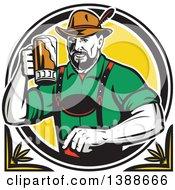 Retro German Man Wearing Lederhosen And Raising A Beer Mug For A Toast
