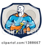 Clipart Of A Retro Muscular Super Hero Plumber Holding A Monkey Wrench In A Blue White And Taupe Shield Royalty Free Vector Illustration