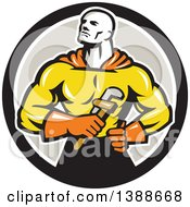 Clipart Of A Retro Muscular Super Hero Plumber Holding A Monkey Wrench In A Black White And Gray Circle Royalty Free Vector Illustration