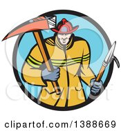 Clipart Of A Cartoon White Fireman Carring A Hook And Axe In A Blue And Black Circle Royalty Free Vector Illustration