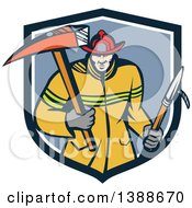 Clipart Of A Cartoon White Fireman Carring A Hook And Axe In A Blue And White Shield Royalty Free Vector Illustration