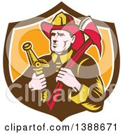 Clipart Of A Retro Woodcut Fireman Holding An Axe And Hose In A Shield Royalty Free Vector Illustration by patrimonio