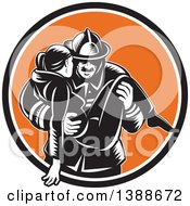 Retro Woodcut Fireman Carrying A Woman In A Black White And Orange Circle