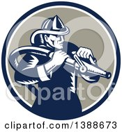 Retro Woodcut Fireman Holding A Hose In A Blue White And Taupe Circle