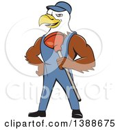 Cartoon Bald Eagle Plumber Man Holding A Plunger