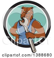 Clipart Of A Cartoon Bulldog Man Mechanic Holding A Wrench And Emerging From A Black White And Turquoise Circle Royalty Free Vector Illustration by patrimonio